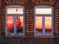 Hafen Möltenort, Abendsonne Reflektion in Fenster